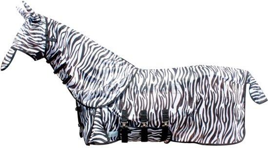 Vliegendeken met losse hals en buikflap, incl. masker Zebra - maat 125