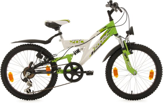 Ks Cycling Fiets 20'' fully kinder-MTB Zodiac van KS Cycling, wit-groen, FH 31 cm - 31 cm