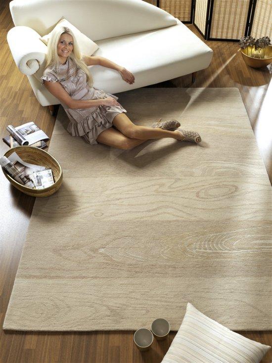 Vloerkleed Carrara beige wol/zijde 170x240