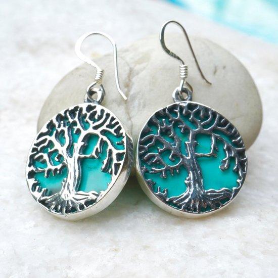 Zilveren Tree of life turquoise oorbellen