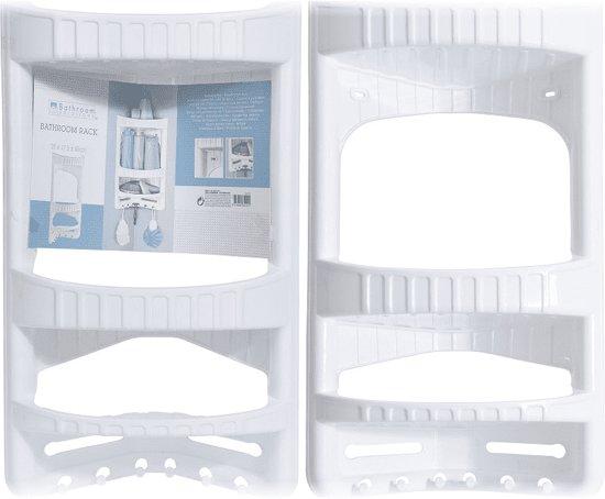 Badkamerrek kunststof wit hoekmodel 28x17,5x45cm