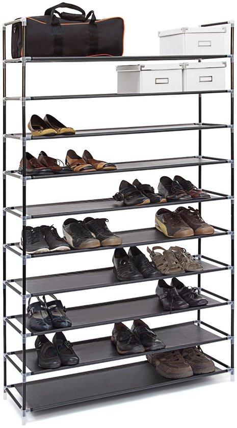 Schoenenkast Voor Heel Veel Schoenen.Bol Com Relaxdays Schoenenrek Xxl 50 Paar Schoenen 10 Etages