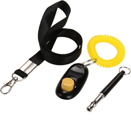 Set voor hondentraining met Clicker, Hondenfluit en Lanyard - Handig meenemen aan pols en om de nek.