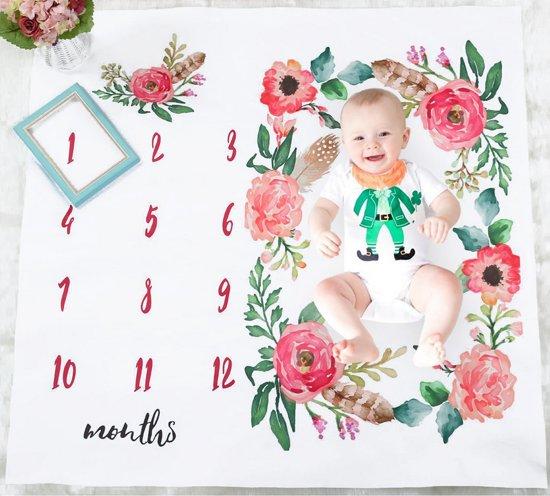 Baby mijlpaaldoek - mijlpaaldeken - milestone - Bloemen