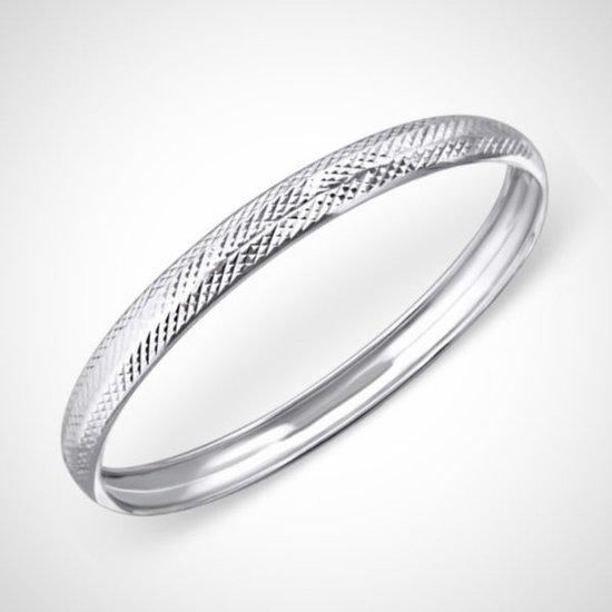 bol | zilveren armband - rond met motief