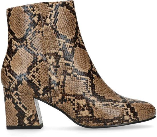 Beige snakeskin enkellaarsjes met hak Dames | MANFIELD