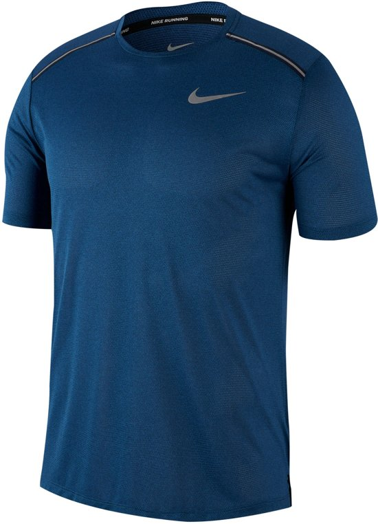Nike Dry Cool Miler Top Ss Sportshirt Heren - Obsidian/Htr/Indigo Force/(Reflective Silv) - Maat XL