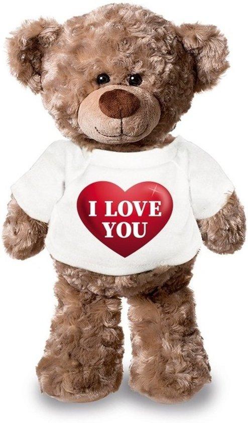 Valentijn - Knuffelbeer I love you met rood hartje 24 cm - Valentijn/ romantisch cadeau
