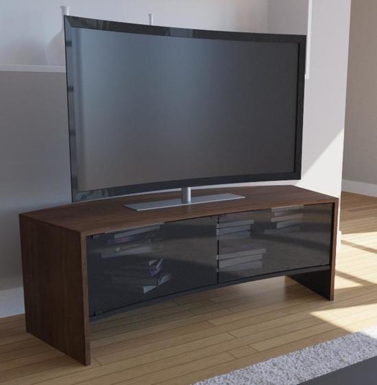 Tv Kast Met Glazen Schuifdeuren.Bol Com Curved Tv Meubel Curved Tv Kast Curvedo Design Noten