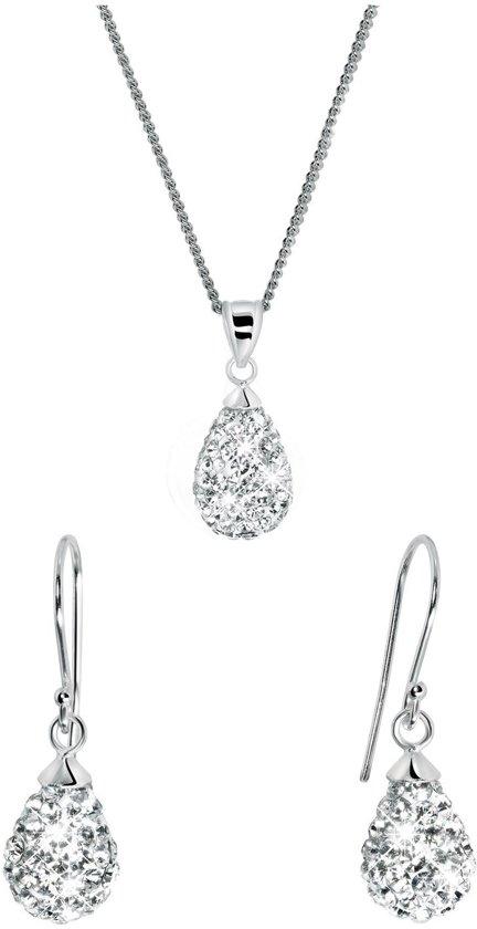 Lucardi - Zilveren set druppel met Swarovski Crystals - maat