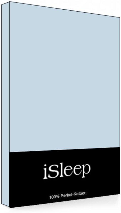 iSleep Perkal Hoeslaken - Eenpersoons - 90x220 cm - Blauw