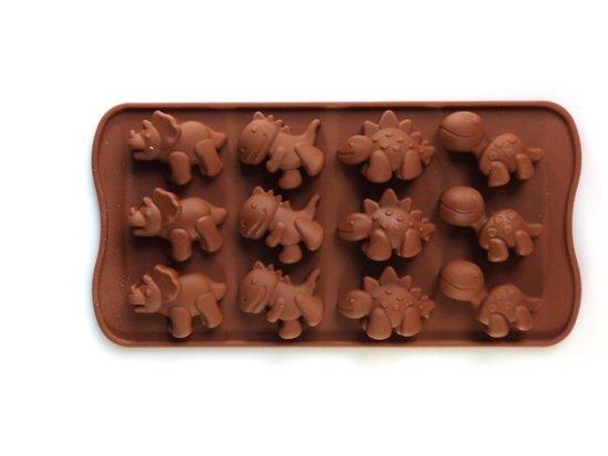 Chocoladevorm mal Dino - Dinosaurus siliconen vorm voor ijsblokjes chocolade fondant - LeuksteWinkeltje