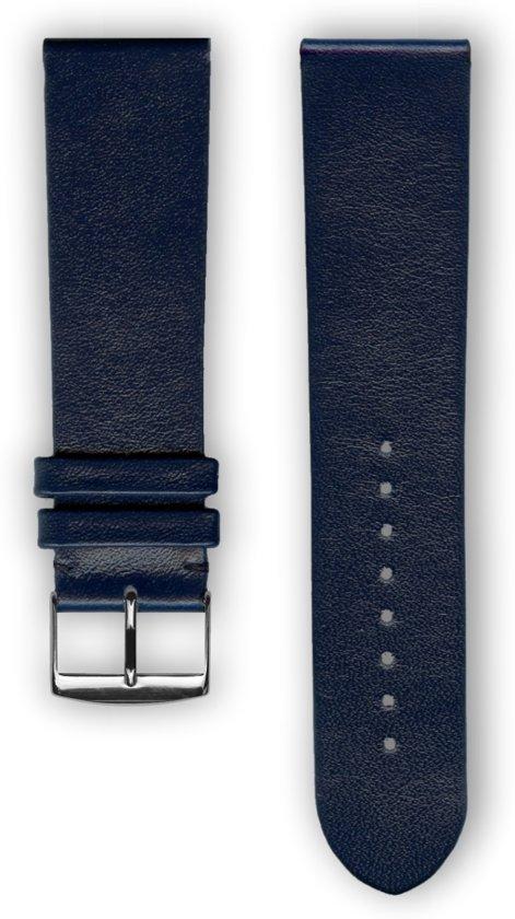Marine blauwe lederen horlogeband (made in France) Frans leder 20 mm