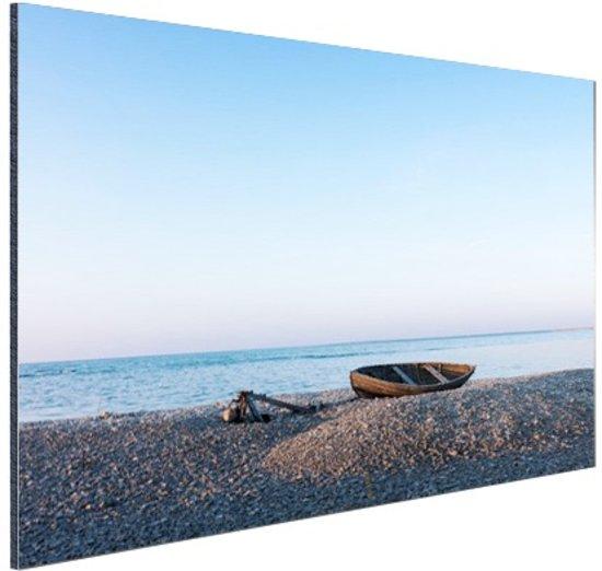 Boot op het strand Aluminium 30x20 cm - Foto print op Aluminium (metaal wanddecoratie)