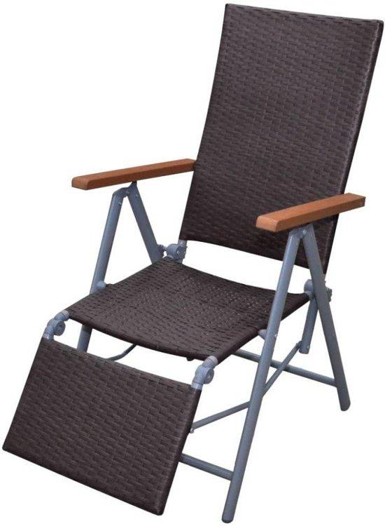 bol com   Tuinstoel ligstoel wicker en aluminium (bruin)
