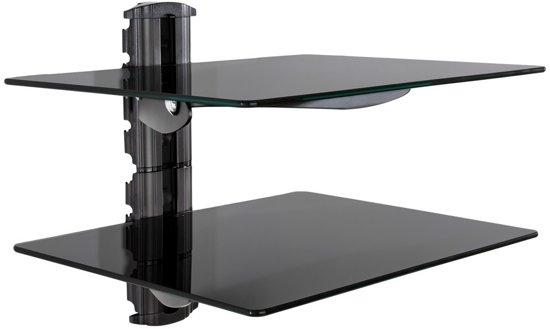 TecTake wandsteun - muurbeugel voor o.a. DVD speler - 2 glasplaten - 401238