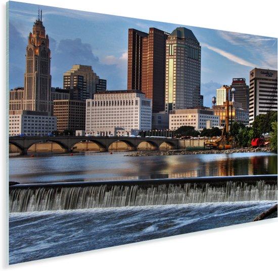 De Scioto rivier wordt overschaduwd door de wolkenkrabbers in Columbus Plexiglas 40x30 cm - klein - Foto print op Glas (Plexiglas wanddecoratie)