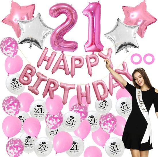 Verjaardag 21 Vrouw.21 Jaar Verjaardag Feest Versiering Ballonnen Volwassen Vrouw 21ste 21e Birthday Party Decoratie