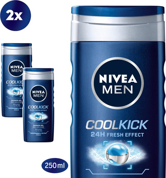 NIVEA MEN Cool Kick Douchegel - 2 x 250 ml - voordeelverpakking