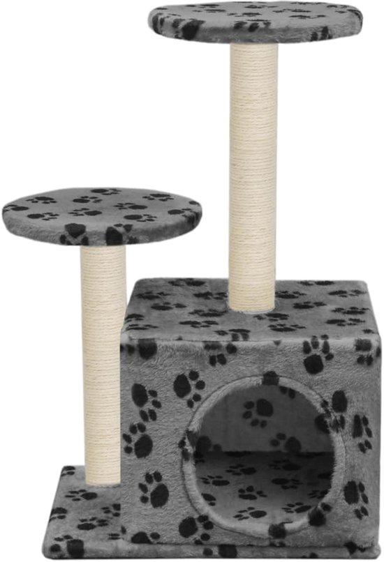 vidaXL Kattenkrabpaal met sisal krabpalen 60 cm pootafdrukken grijs