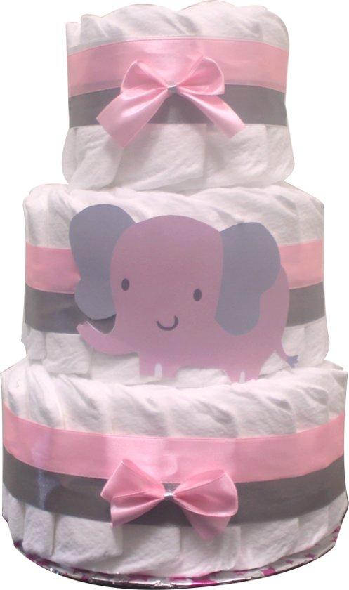 Pampertaart / luiertaart meisjes 3-lagen maat 2 (4-8kg) 41 pampers Kraamcadeau, Babyshower, Geboortecadeau