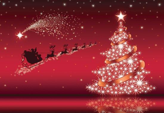 Fotobehang Christmas Tree  Santa Claus   XL - 208cm x 146cm   130g/m2 Vlies