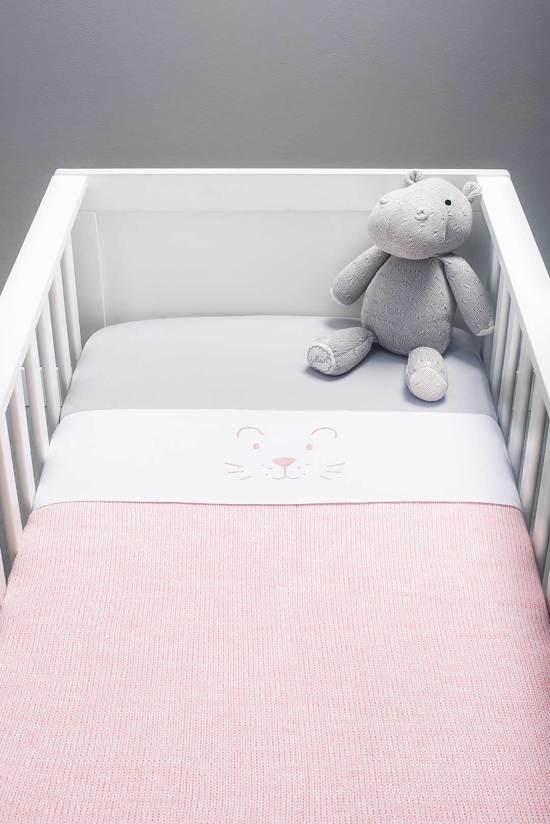 Deken 75x100cm Melange knit soft pink
