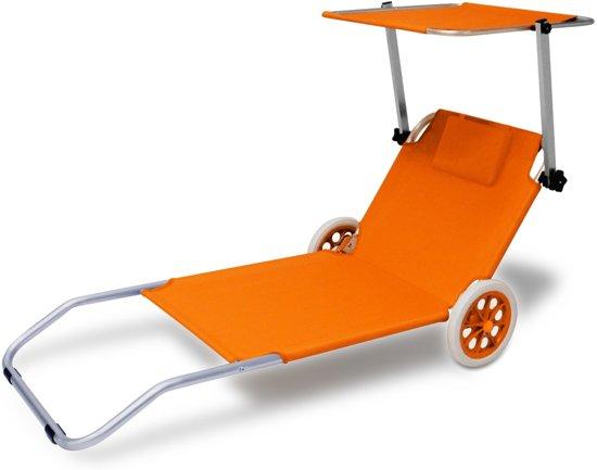 Strandstoel Met Wieltjes.Inklapbare Strandstoel Kreta Oranje Met Wielen Zonnescherm