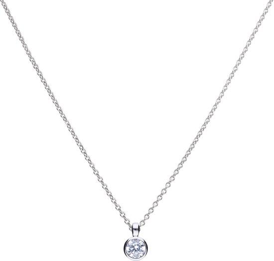 Diamonfire - Zilveren collier met hanger 45 cm - Solitaire - Kastzetting - 0.50 ct - 5 mm
