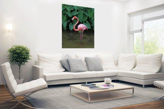 Bol een flamingo met planten achtergrond poster cm