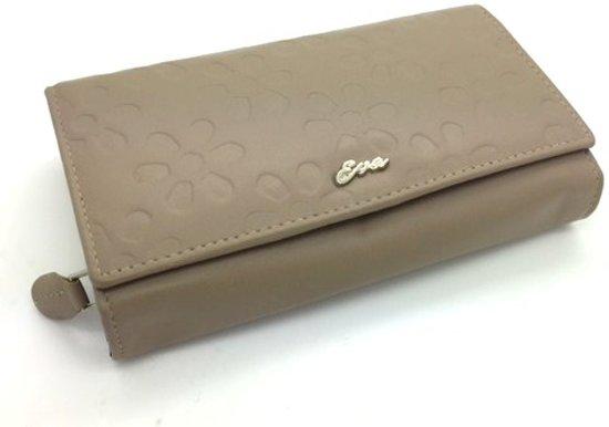Portemonnee leder beige - bruin bloemenprint 99735
