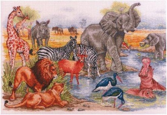 borduurpakket APC925 wilde dieren, waterbron