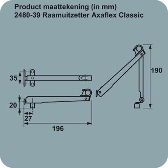 AXA  raamuitzetter 196mm AXAflex Classic rvs  2480-39-81E Rs
