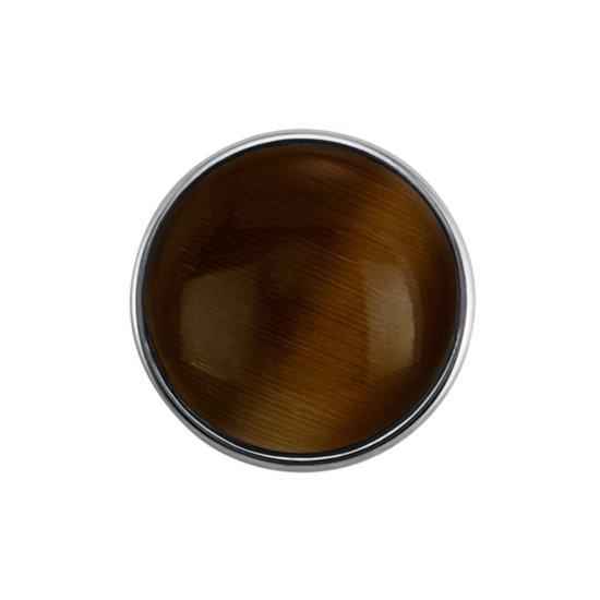Quiges - Dames Click Button Drukknoop 18mm Glas Cat Eye Bruin - EBCM142