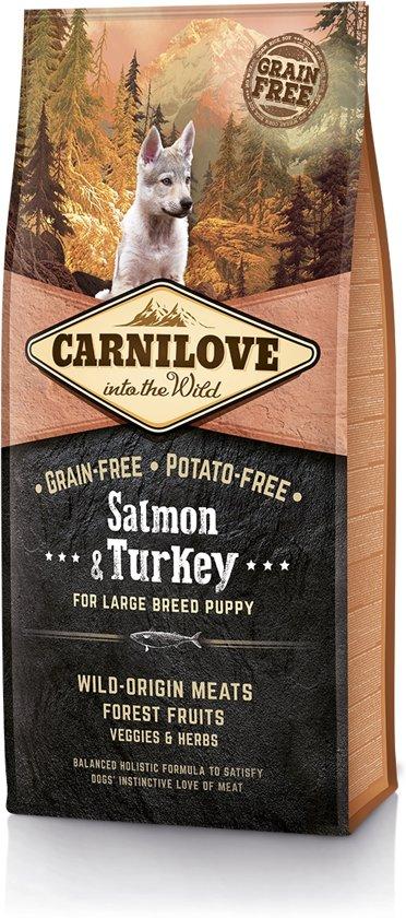 Carnilove Puppy large breed graanvrij hondenvoer Zalm & Kalkoen 12kg met 70% vlees!