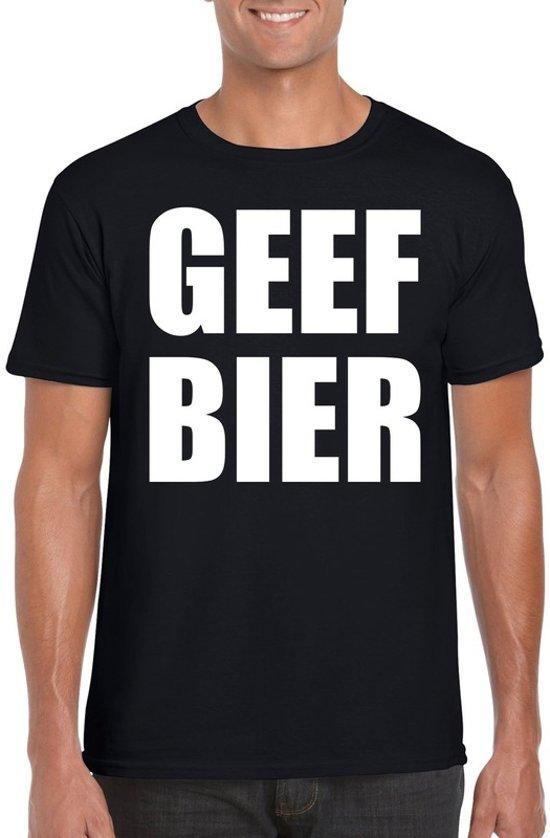 Geef Bier heren shirt zwart - Heren feest t-shirts 2XL