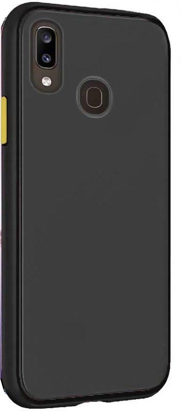 Teleplus Samsung Galaxy A20 Case Matte Surface Defense Silicone Black + Nano Screen Protector hoesje