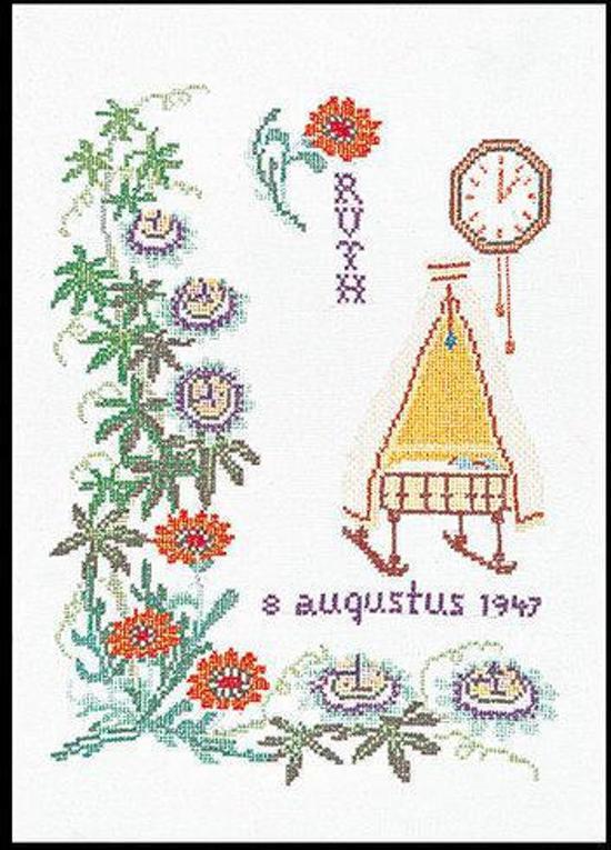 Thea Gouverneur Borduurpakket 868A Geboortetegel Augustus - Aida stof 100% katoen