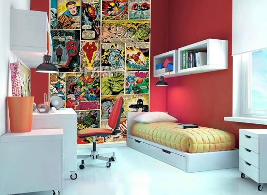 Marvel comic strip kinderbehang - Deco chambre garcon super heros ...