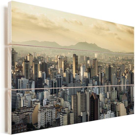 De zon komt op in het zuidwesten van het Braziliaanse São Paulo Vurenhout met planken 90x60 cm - Foto print op Hout (Wanddecoratie)