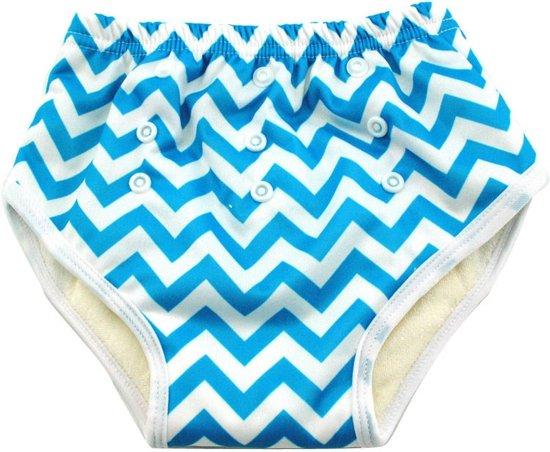 Oefenbroekje - Zigzag strepen blauw/wit