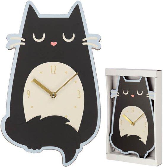 Wandklok Feline de kat zwart in katten-vorm