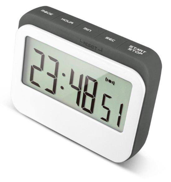 Digitale Kookwekker | Met digitale klok en alarm | Perfect voor in keuken met magneet en rubberen stootrand | Wit met grijs
