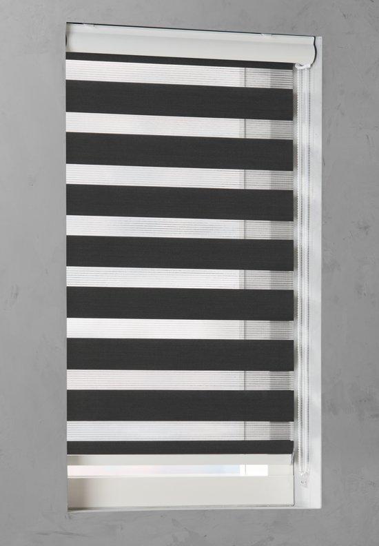 Pure Living - Duo Rolgordijn Lichtdoorlatend - 110x175 cm - Zwart