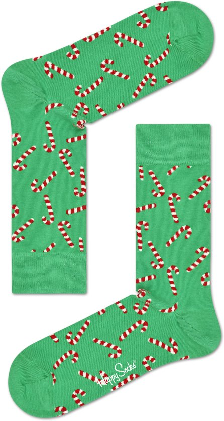Happy Socks - Happy Holliday Christmas - Candy Cane - Groen - Unisex -Maat 41-46