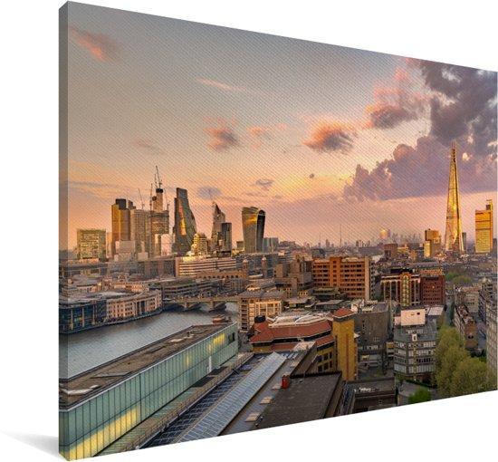 De skyline van Londen met de Millennium Bridge op de voorgrond Canvas 60x40 cm - Foto print op Canvas schilderij (Wanddecoratie woonkamer / slaapkamer)