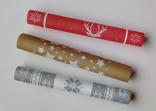 kerst - luxe inpakpapier - 3 rollen : goud, rood, zilver