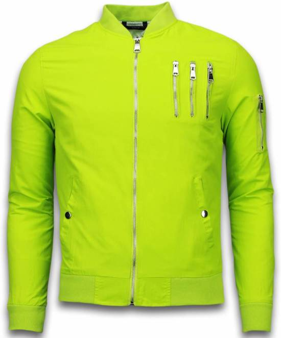Just Rebel Casual Bomber Jack Heren - 3 Chrome Zippers - Lime Groen - Maat: M
