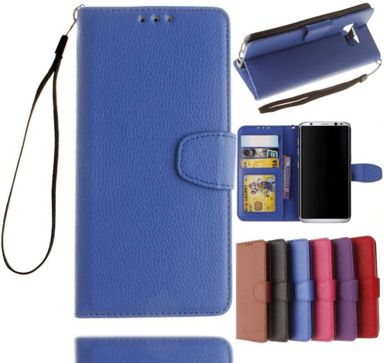 GSMWise - Samsung Galaxy S8 - PU Lederen Portemonnee Case met Kaarthouder Lychee - Blauw in Havelte