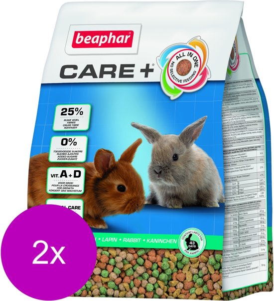 Beaphar Care+ Konijn Junior - 2 St à 1,5 kg - Konijnenvoer
